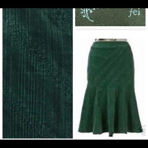 Anthropologie Fei Green Corduroy Maritime Skirt